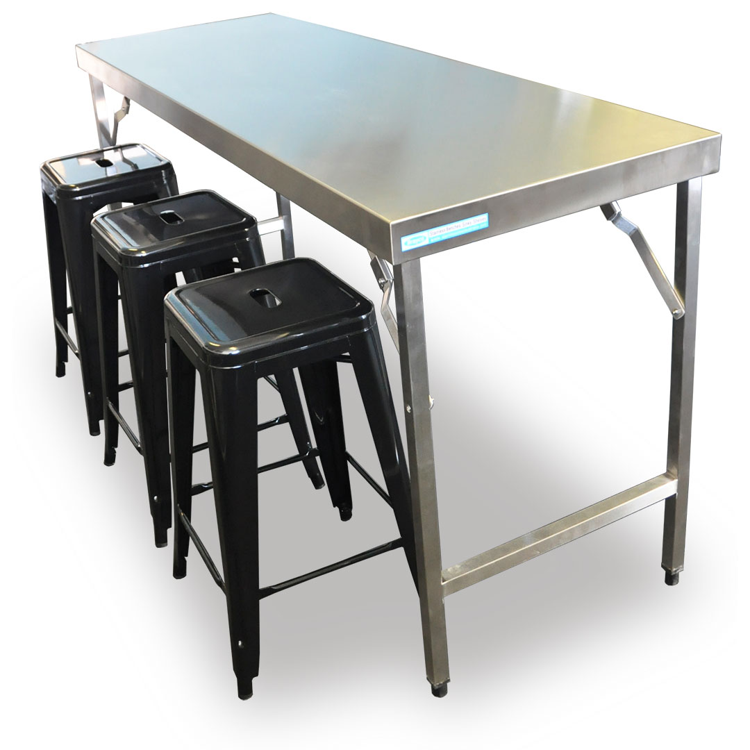 Folding Stainless Steel Catering Bench, 1524 x 610 x 900mm high