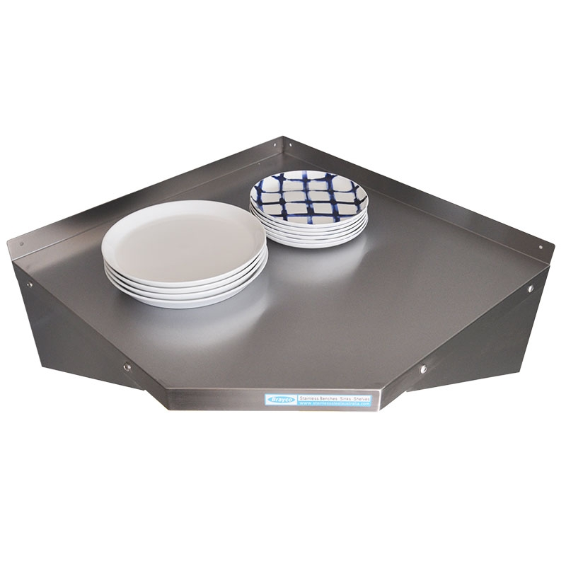 Stainless Steel Solid Corner Wall Shelf, to suit 450mm deep shelves